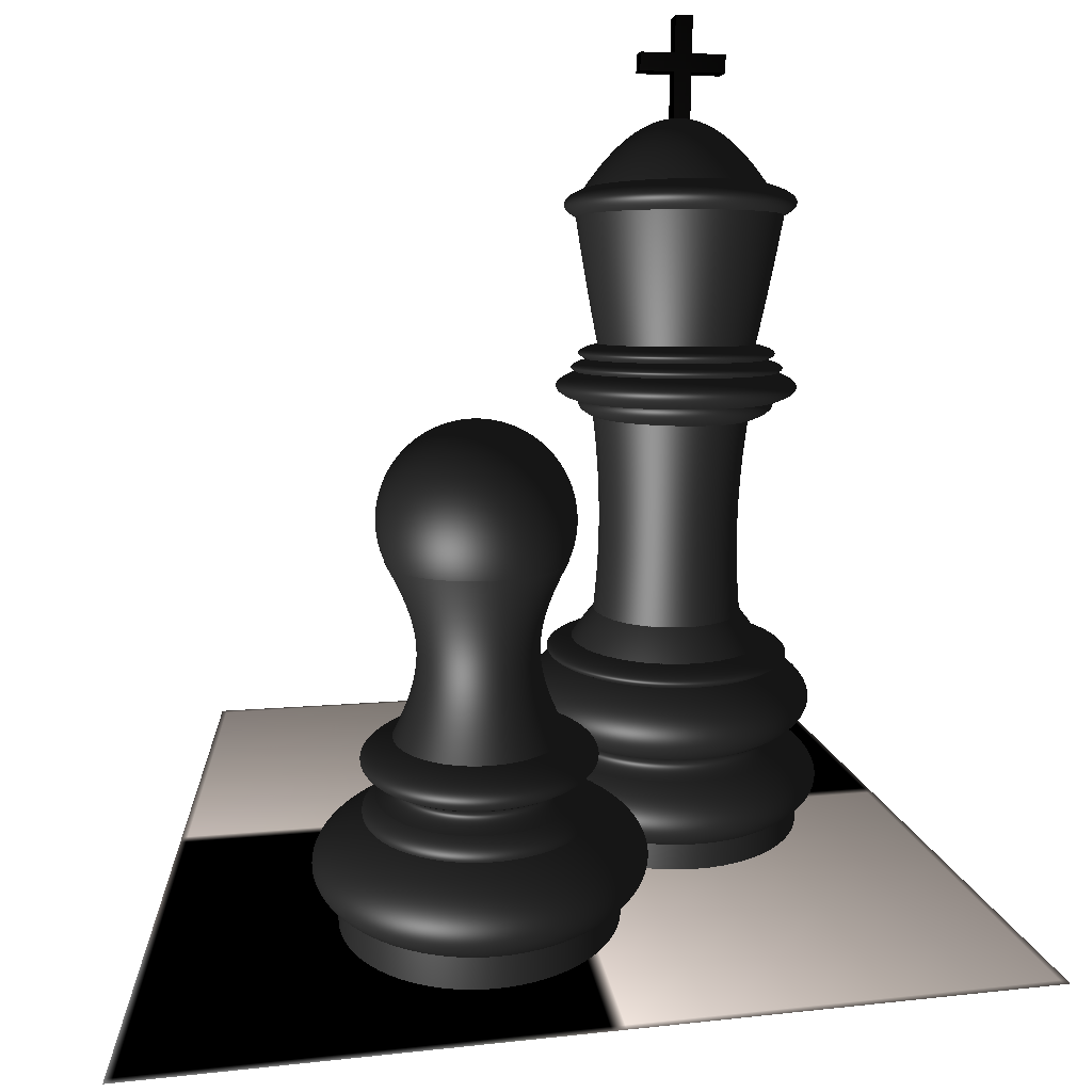 Chess scene modelled with ICaster